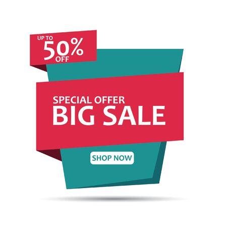 Illustration pour Sale Banner Template Design. Geometric Sale Banner. Big Sale Banner Vector Illustration. - image libre de droit