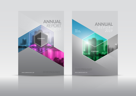 Illustration pour Cover Design template, annual report cover, flyer, presentation, brochure. Front page design layout template with bleed in A4 size. Multi colors with abstract background templates. - image libre de droit