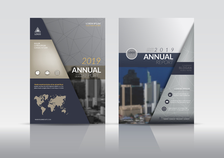Ilustración de Cover Design template, annual report cover, flyer, presentation, brochure. Front page design layout template with bleed in A4 size. Multi colors with abstract background templates. - Imagen libre de derechos