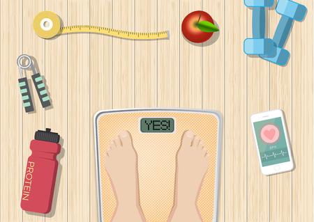 Ilustración de Sport and healthy equipment concept on wooden background, healthy food and wellness banner, objects set on a wooden floor, top view - Imagen libre de derechos