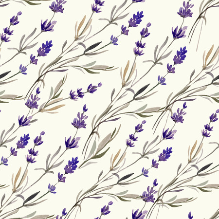 Provence lavender pattern decor flowers vector colored