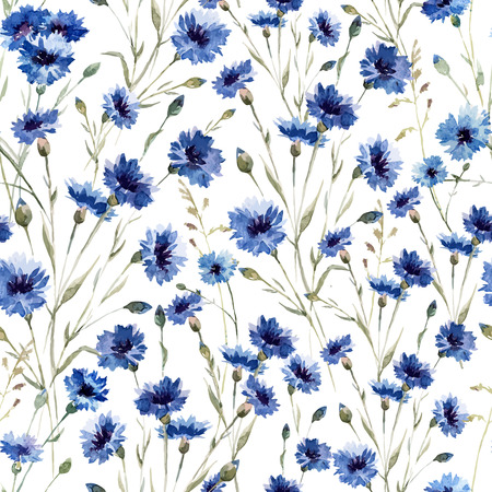 Beautiful vectorn pattern with blue flowers on white fonのイラスト素材