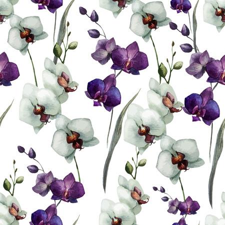 Illustration pour Beautiful vector pattern with orchid flowers on white fon - image libre de droit
