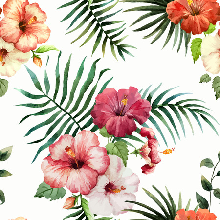Beautiful vector pattern with tropic leafs on white fon