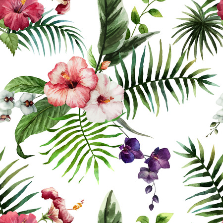 Foto de Beautiful vector pattern with tropic leafs on white fon - Imagen libre de derechos