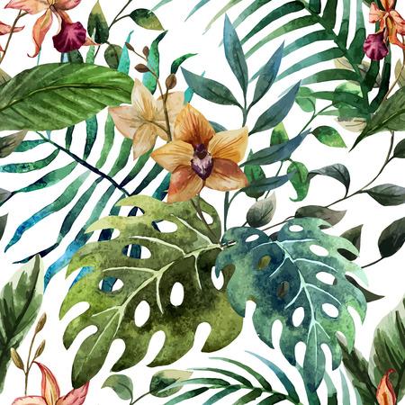 Ilustración de Beautiful vector pattern with tropic leafs on white fon - Imagen libre de derechos