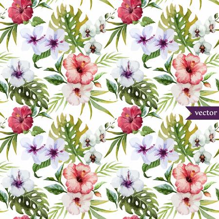 Foto de Beautiful hibiscus vector pattern - Imagen libre de derechos