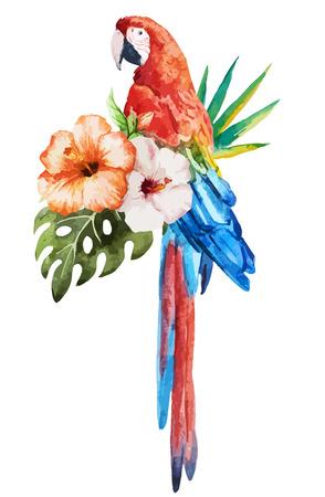 Illustration pour Beautiful vector set with nice watercolor tropical birds - image libre de droit