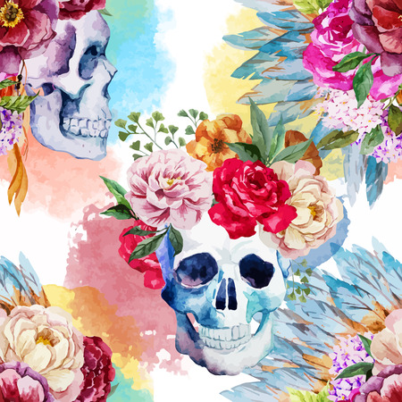 Illustration pour Beautiful vector pattern with watercolor ethnic skull - image libre de droit