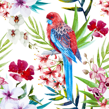 Beautiful vector pattern with watercolor tropical bird and flowers