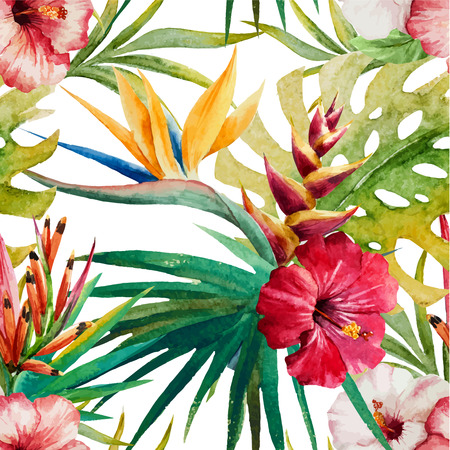Beautiful vector pattern with watercolor tropical sterlitzia