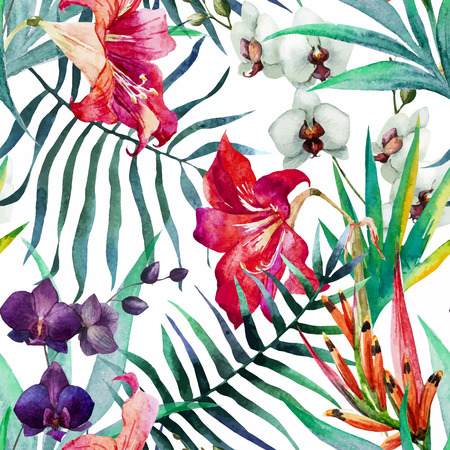 Ilustración de Beautiful vector pattern with nice watercolor tropical flowers - Imagen libre de derechos