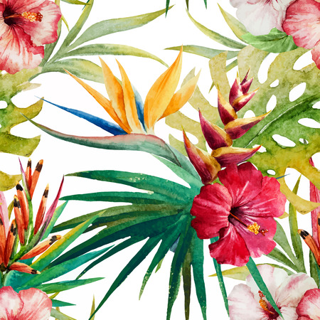 Beautiful vector pattern with nice watercolor tropical flowers
