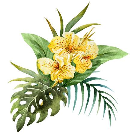 Illustration pour Beautiful vector image with nice watercolor canna flowers - image libre de droit