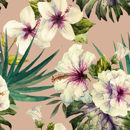Beautiful vector pattern with nice watercolor hibiscus