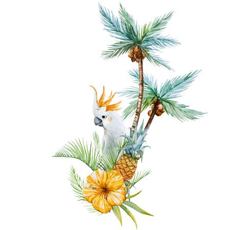 Foto de Beautiful vector image with nice watercolor tropical palm - Imagen libre de derechos