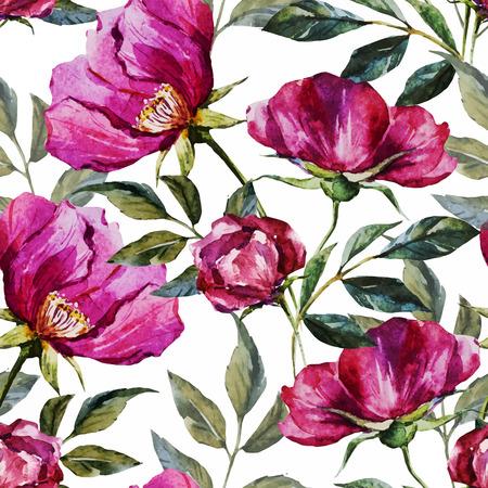 Foto de Beautiful vector pattern with nice watercolor flowers - Imagen libre de derechos