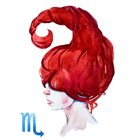 Beautiful vector image with nice watercolor horoscope Scorpioのイラスト素材