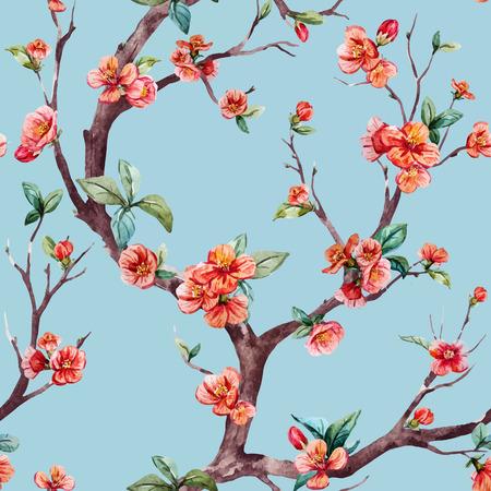 Illustration pour Beautiful vector pattern with nice watercolor sakura tree - image libre de droit