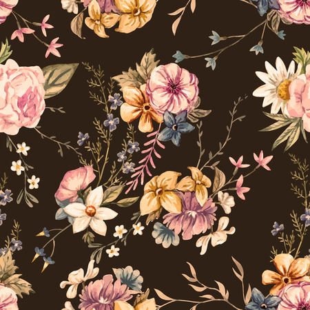Illustration pour Beautiful seamless vector pattern with nice watercolor hand drawn flowers - image libre de droit