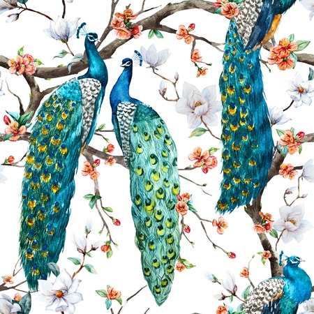 Photo pour Beautiful raster pattern Watercolor raster peacock pattern - image libre de droit