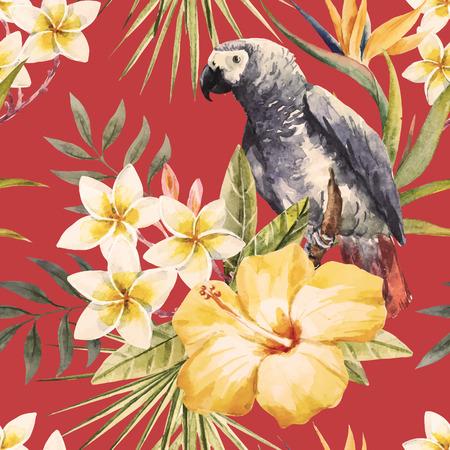 Illustration pour Beautiful pattern with nice tropical watercolor watercolor flowers and parrot - image libre de droit