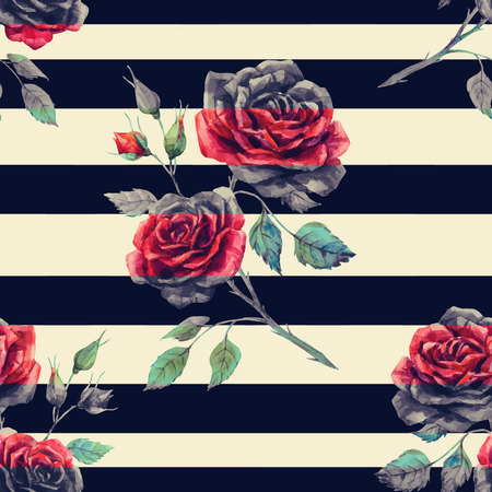 Illustration for Beautiful pattern with nice hand drawn watercolor roses - Royalty Free Image