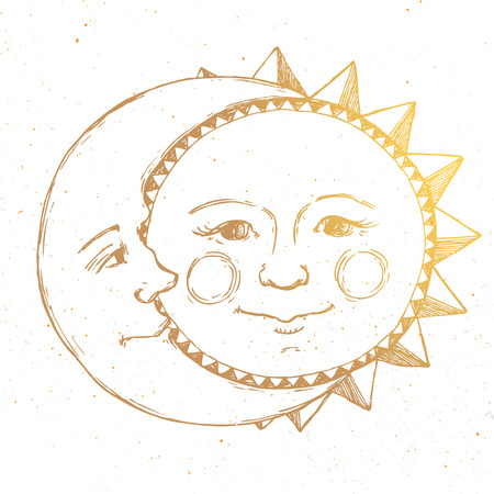 Ilustración de Beautiful image with nice hand drawn sun and moon relationship - Imagen libre de derechos