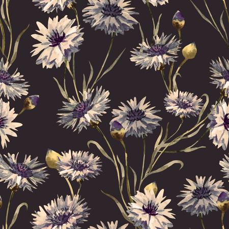 Illustration pour Beautiful pattern with nice watercolor hand drawn cornflowers - image libre de droit