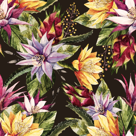 Illustration for Beautiful pattern with nice watercolor tropical dragon flowers - Royalty Free Image