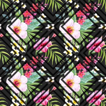 Illustration pour Beautiful pattern with hand drawn watercolor tropical flowers and leaves - image libre de droit