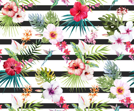 Illustration for Beautiful pattern with hand drawn watercolor tropical flowers and leaves - Royalty Free Image