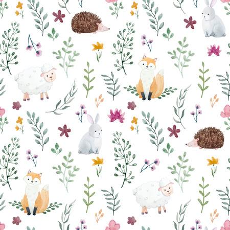 Ilustración de Beautiful children pattern with cute watercolor animals and flowers - Imagen libre de derechos