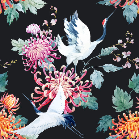 Ilustración de Beautiful vector pattern with nice watercolor hand drawn cranes and flower - Imagen libre de derechos