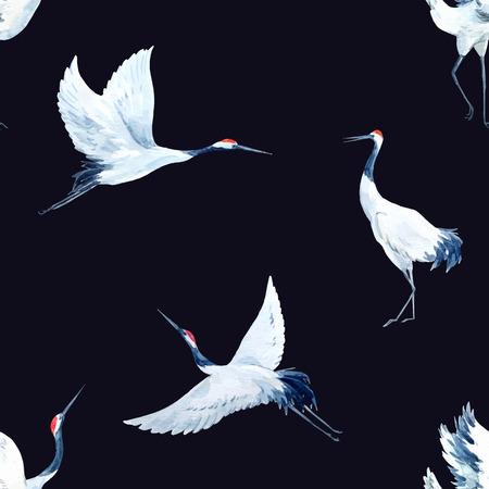 Ilustración de Beautiful vector pattern with nice watercolor hand drawn cranes - Imagen libre de derechos