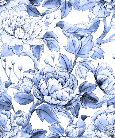 Photo pour Watercolor floral chinese pattern - image libre de droit