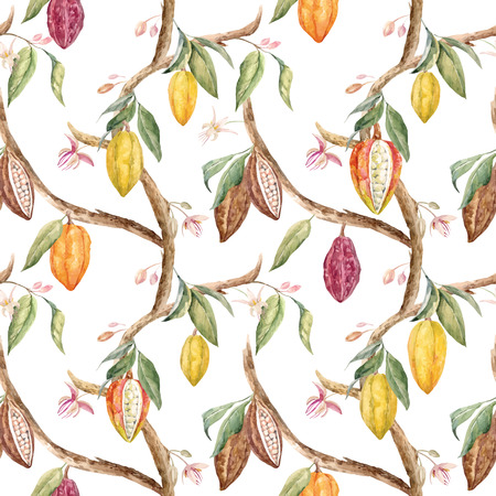 Illustration for Tropical vector seamless pattern with watercolor cocoa fruits and leaves - Royalty Free Image