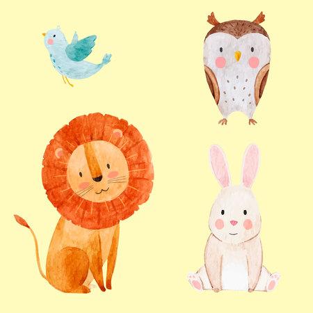 Ilustración de Beautiful vector set with some hand drawn watercolor cute baby animals on transparent background - Imagen libre de derechos