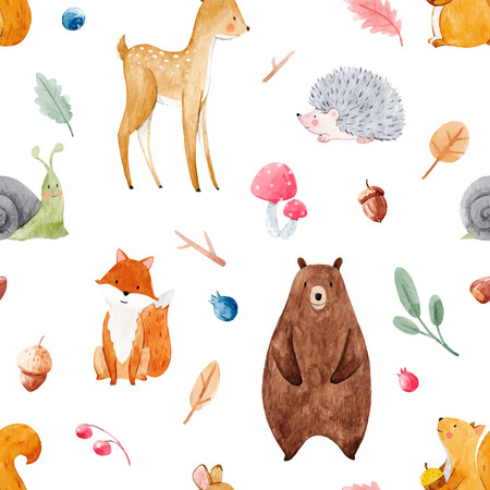 Illustration for Beautiful vector seamless watercolor baby pattern with nice animals - Royalty Free Image