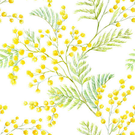 Ilustración de Beautiful seamless vector pattern with hand drawn watercolor mimosa flowers - Imagen libre de derechos