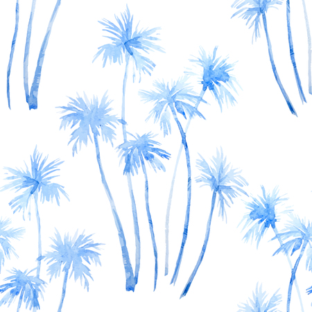 Illustration for Beautiful pattern with hand drawn watercolor tropical palm trees - Royalty Free Image