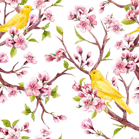 Illustration pour Beautiful vector seamless pattern with watercolor sakura flowers with birds - image libre de droit