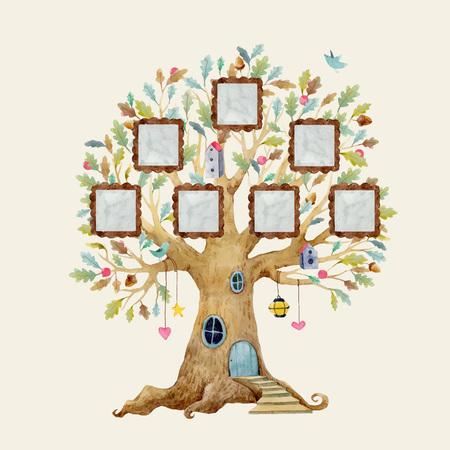 Illustration pour Watercolor vector tree house with frames - image libre de droit