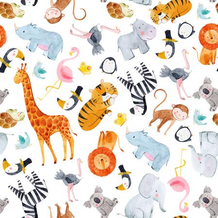 Safari animals watercolor vector pattern