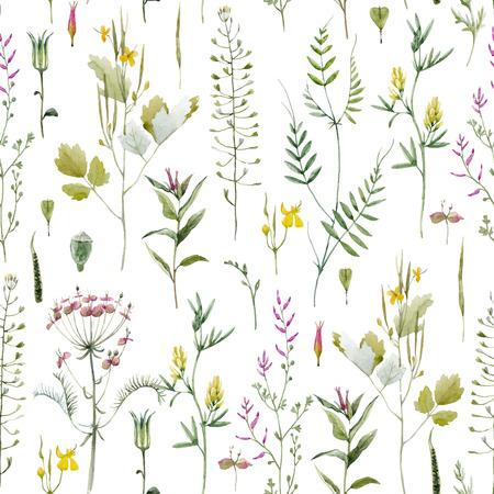 Ilustración de Beautiful vector seamless pattern with watercolor wild field summer flowers - Imagen libre de derechos