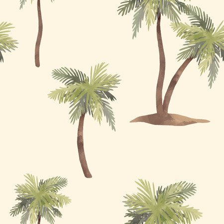 Illustration for Beautiful vector seamless pattern with hand drawn watercolor tropical palms - Royalty Free Image