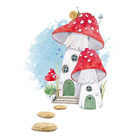 Foto de Beautiful illustration with forest mushroom house for babies - Imagen libre de derechos