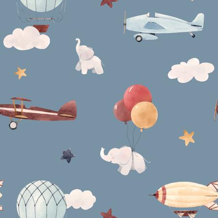 Ilustración de Beautiful baby seamless pattern with watercolor air baloon plane airship - Imagen libre de derechos