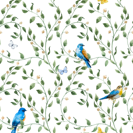 Illustration pour Beautiful seamless vector pattern with hand drawn watercolor flowers and birds - image libre de droit