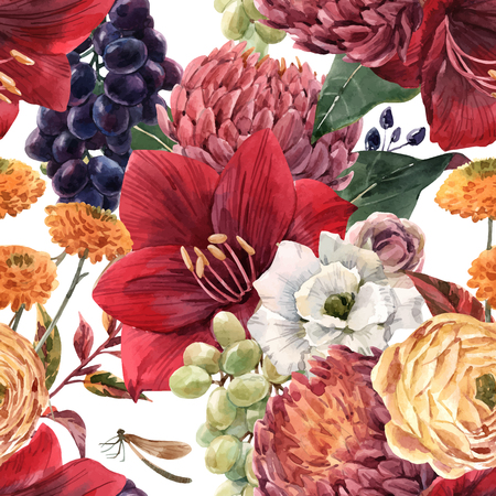 Ilustración de Beautiful vector seamless pattern with hand drawn watercolor flowers - Imagen libre de derechos